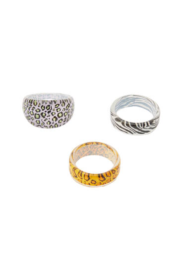 3-pack of animal print rings
