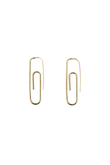 Golden paperclip earrings