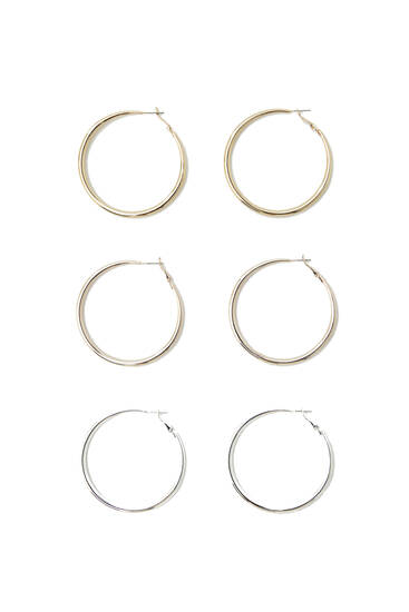 Assorted coloured hoop earrings