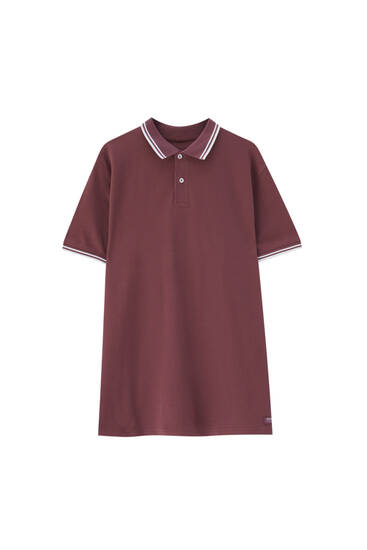 Basic polo shirt with contrast rib detail