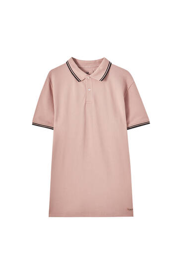 Polo shirt with contrast ribbed trims