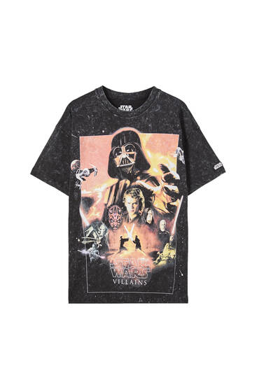 Sort, batikfarvet T-shirt med Star Wars