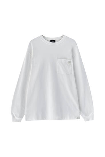 T-shirt oversize manches longues poche