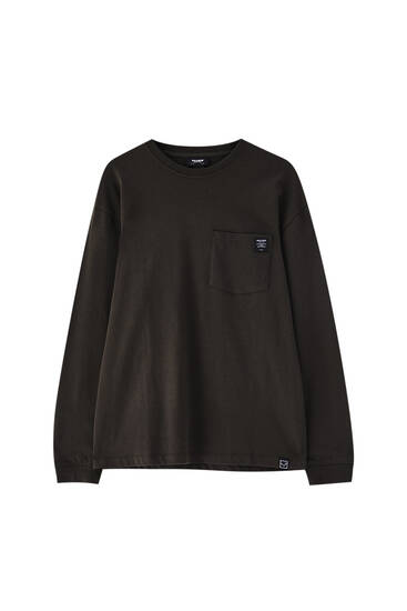 Oversize long sleeve T-shirt with pocket
