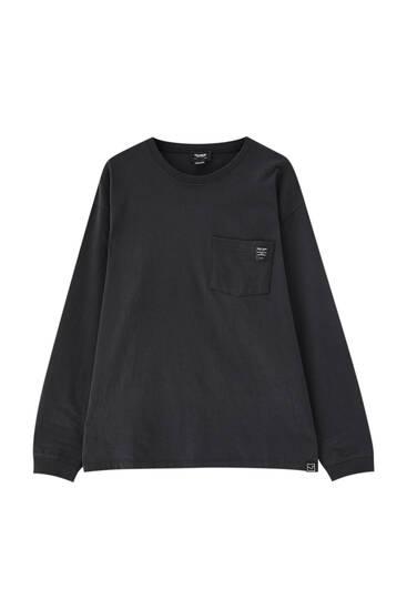 Μακρυμάνικη μπλούζα oversize με τσέπη