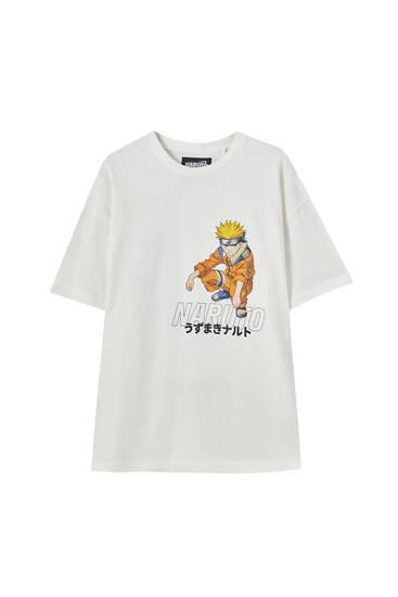 Белая футболка с принтом «Наруто»