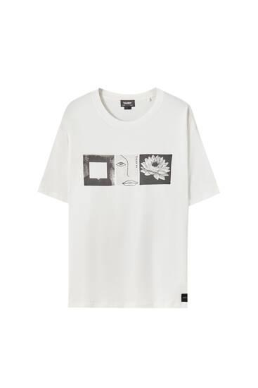 T-shirt branca com gráfico no peito