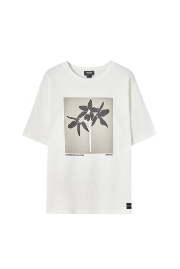White T-shirt with a graphic on the chest