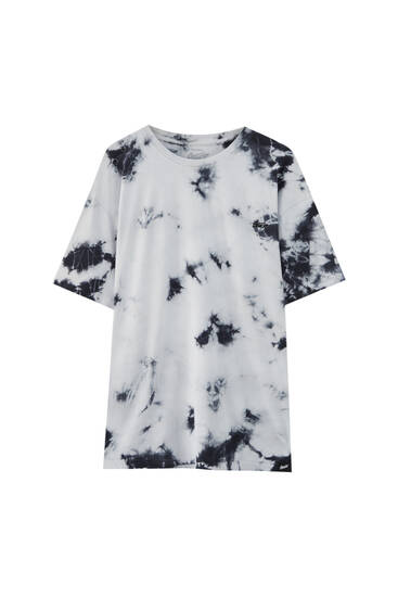 Black and white tie-dye T-shirt