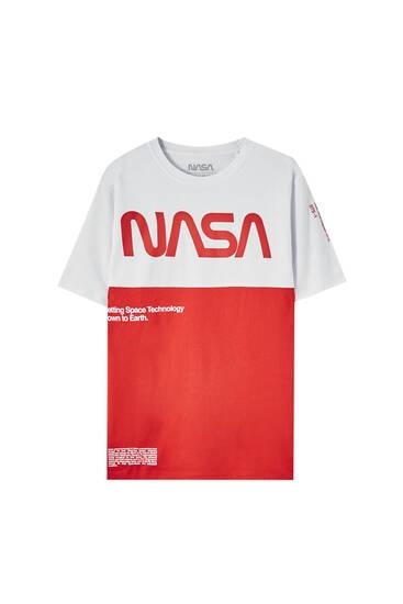 Red NASA panelled T-shirt