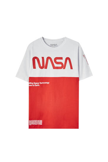 Red NASA panelled T-shirt