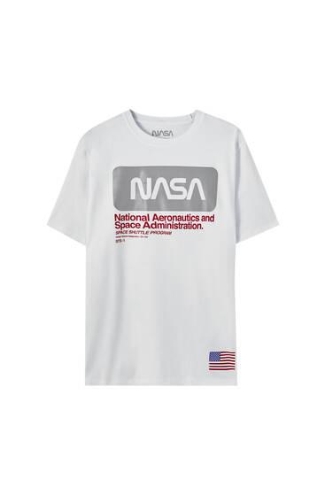 White NASA T-shirt with reflective panel detail