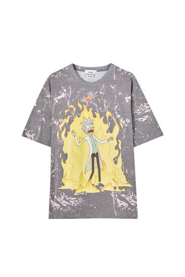Rick & Morty tie-dye and flame T-shirt