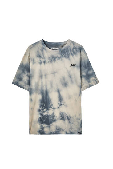 Sand-coloured tie-dye T-shirt