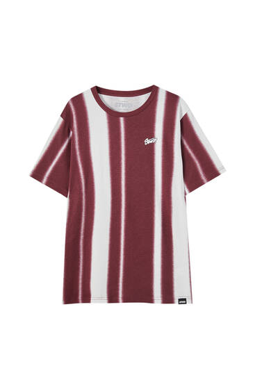 Vertical striped print T-shirt