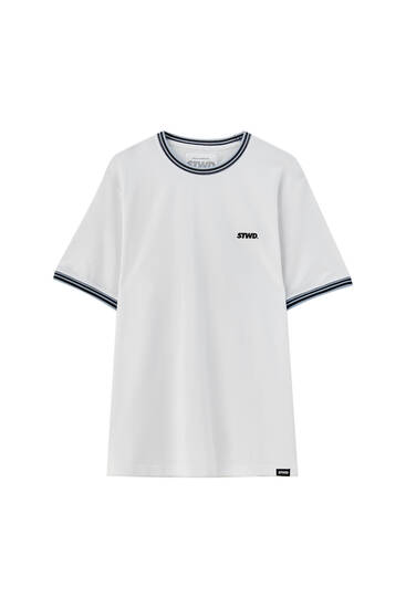 Piqué T-shirt with contrasting rib detail