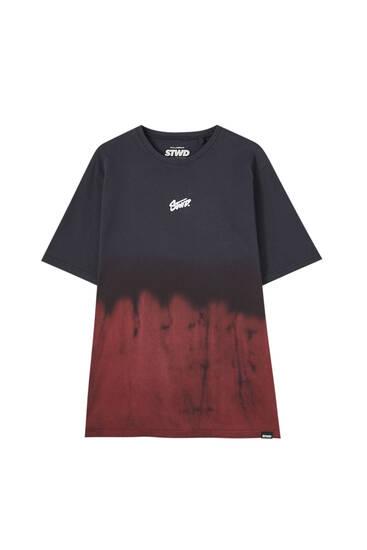 Black STWD T-shirt with tie-dye hem