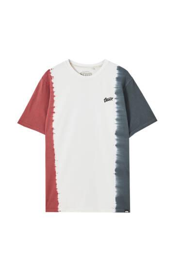 Vertical tie-dye colour block T-shirt