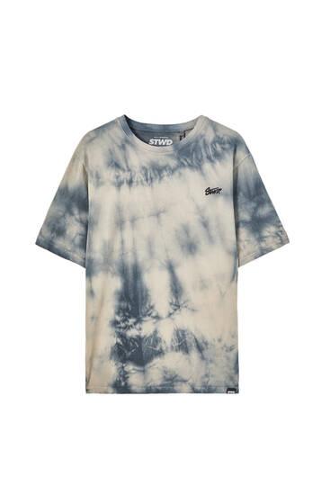 Sand-coloured tie-dye T-shirt