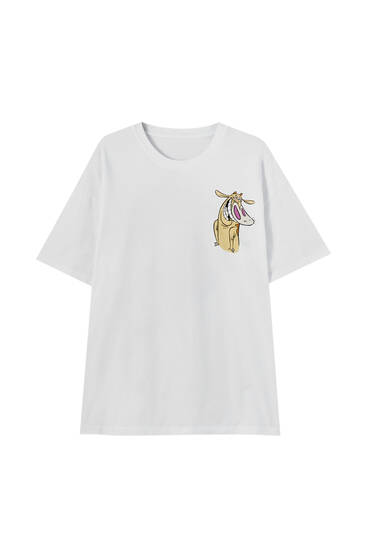 White T-shirt with Cow and Chicken print