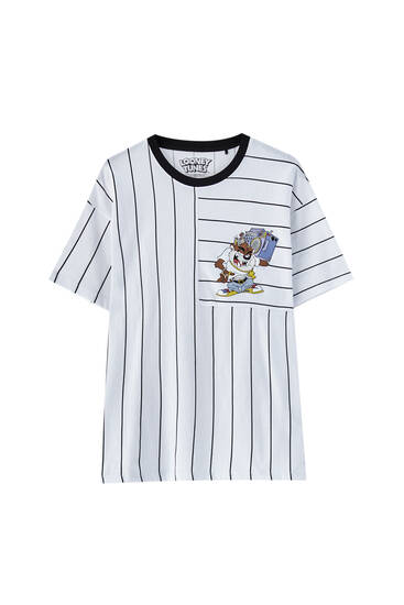 Striped T-shirt with Taz illustration