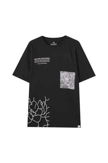 Black T-shirt with floral detail