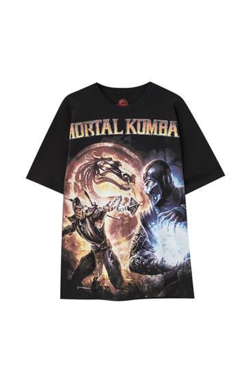 Zwart Mortal Kombat T-shirt met personages