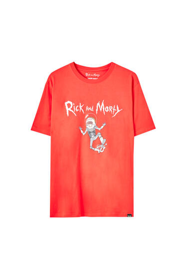 Rød T-shirt med Rick & Morty