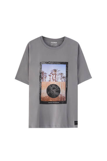 T-shirt gris illustration devant
