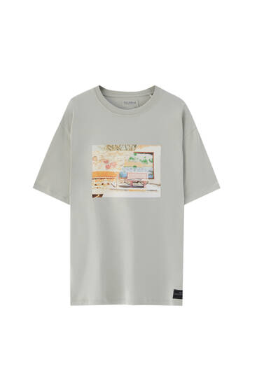 White T-shirt with label illustration