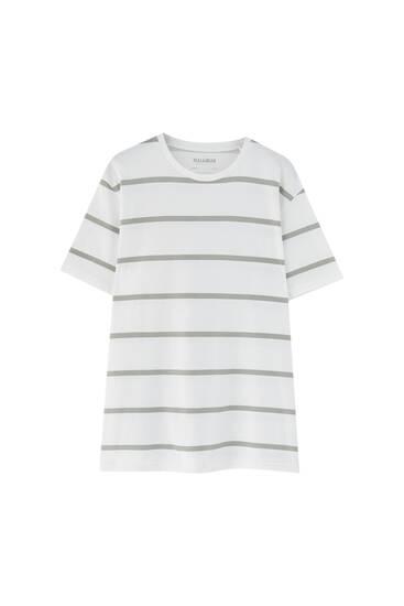 Vit randig t-shirt i bomull