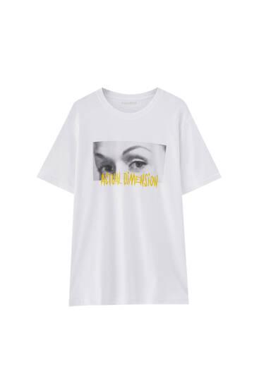 White T-shirt with eyes illustration