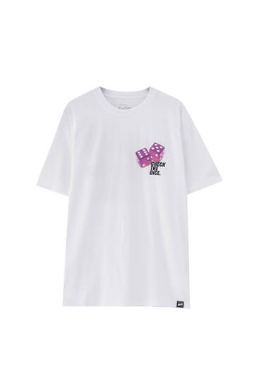 White STWD dice T-shirt