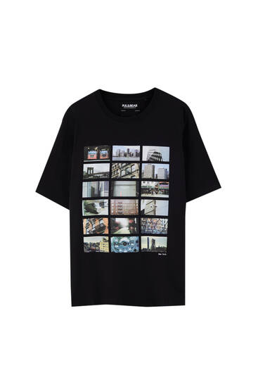 Black T-shirt with city illustration