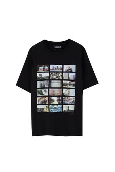 Svart t-shirt med stadsillustration