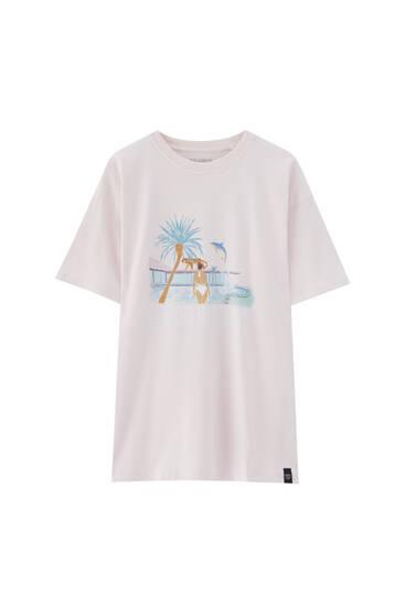 T-shirt met zwembadprint