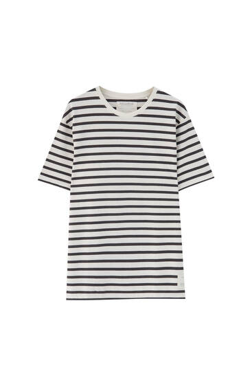Basic contrast stripe print T-shirt