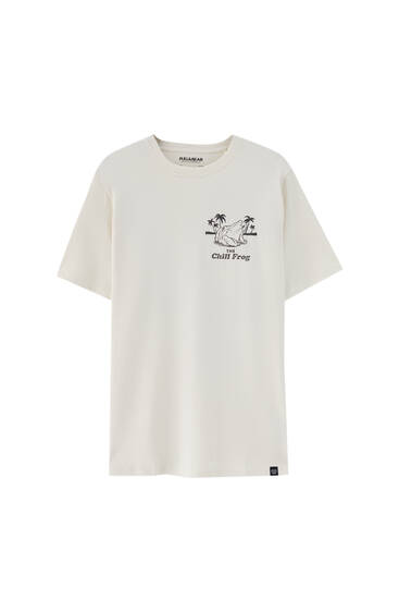 White slogan print T-shirt - ecologically grown cotton (at least 50%)