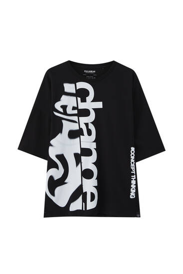 Black T-shirt with change print