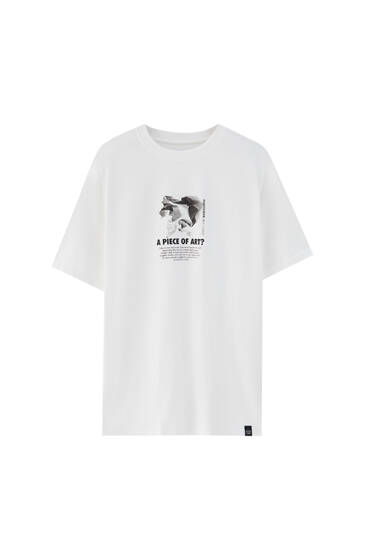 White mineral T-shirt with slogan