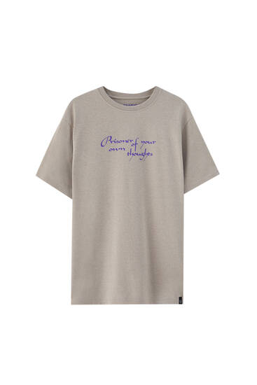 T-shirt inscription violette