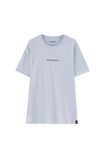Violet T-shirt with contrast slogan