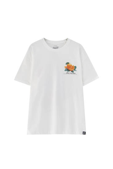 White T-shirt with contrast front illustration