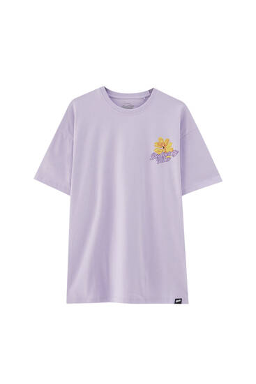 Mauve T-shirt with contrast parrot illustration