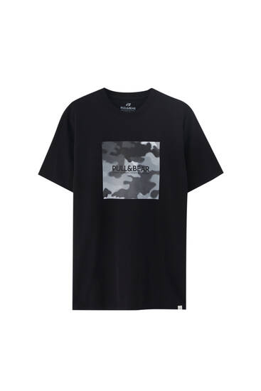 Pull&Bear logo T-shirt - at least 50% ecologically grown cotton