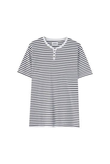 Striped henley T-Shirt
