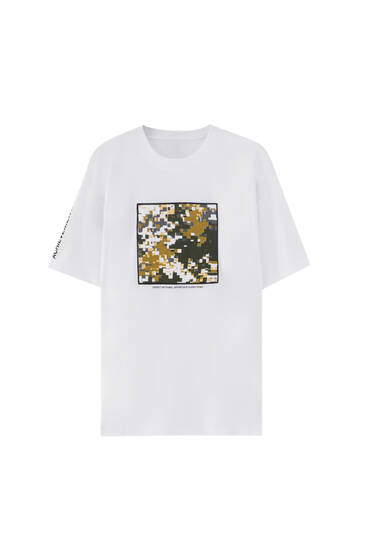 T-shirt with camouflage patch