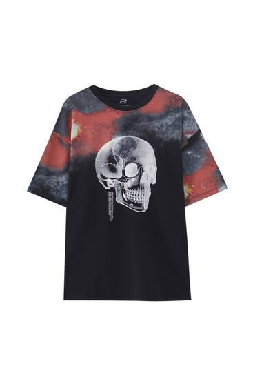 Black tie-dye T-shirt with skull print