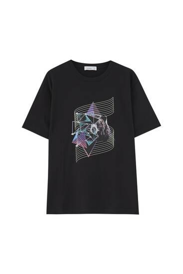 Camiseta negra oso 80's