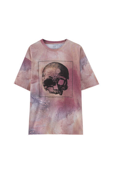 Tie-dye T-shirt with skull illustration